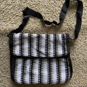 Handbags - Black and white hand woven crossbody bag